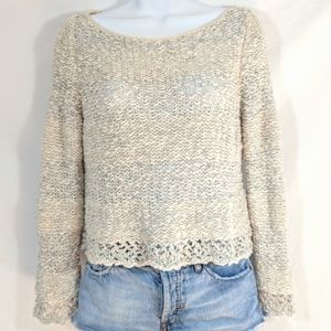 Free People cream and gray striped sweater